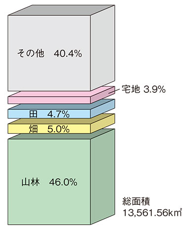 地目別面積の割合